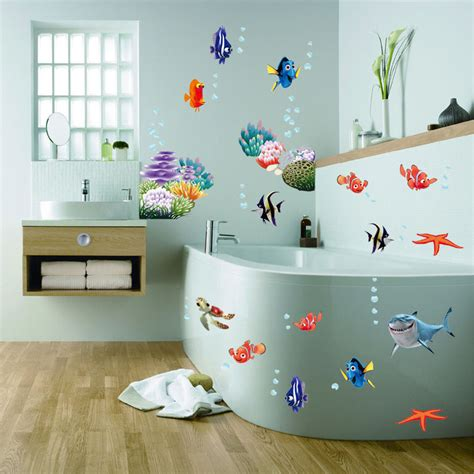 wonderful sea world colorful fish animals vinyl wall window bathroom decor decoration wall