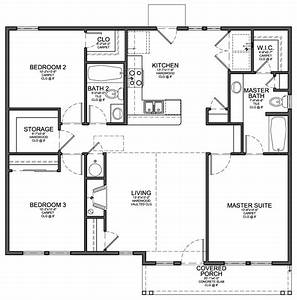 Floor Plan for Small 1,200 sf House with 3 Bedrooms and 2
