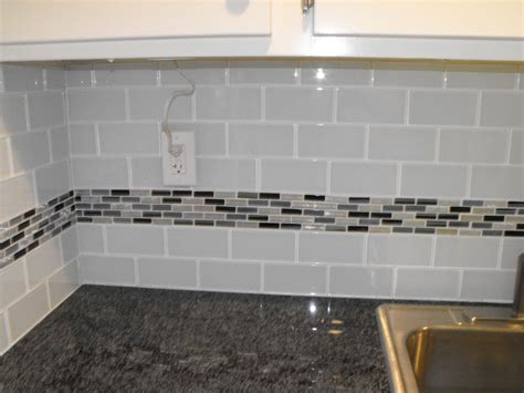 mosaic tiles backsplash kitchen 22 light grey subway white grout with decorative line