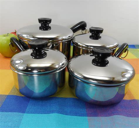 revere ware tri ply disc bottom stainless  set saucepans     quart revere ware