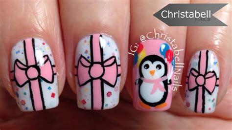 Birthday / Christmas Penguin & Present Nails