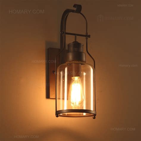 industrial loft rust metal lantern single wall sconce with