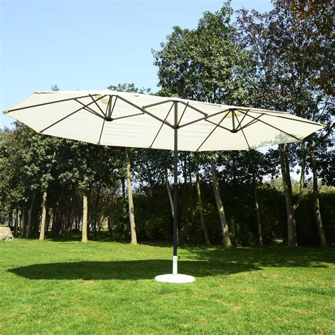 outdoor patio umbrellas outsunny 15 outdoor white and brown sided
