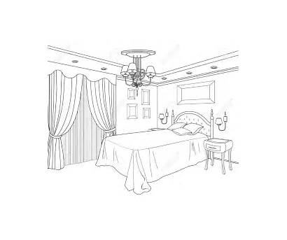 Coloring Bedroom Pages Sketch Bed Interior Drawing