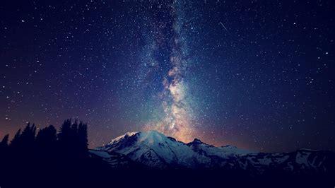 sky stars mountain trees night wallpapers hd desktop