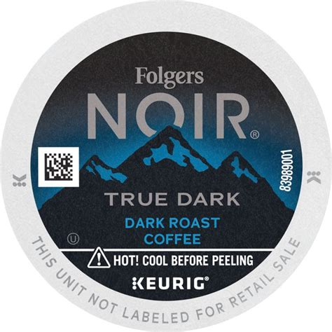 Experience a smooth and pleasant cup of coffee with no. Folgers Noir True Dark, Dark Roast Ground Coffee, K-Cup Pods for Keurig Brewers, 12-Count ...