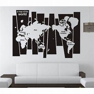 Version map of the world family office vinyl wall art