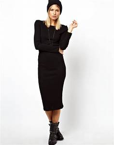 lyst asos midi ribbed bodycon dress with long sleeve in With robe cotelée