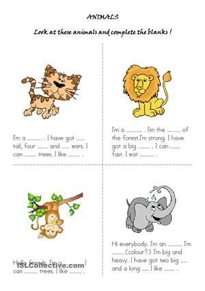 with this worksheet students are expected to describe the animals in the and spell
