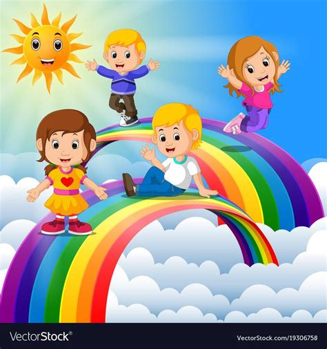 happy kids standing   rainbow vector image