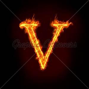 Fire Alphabets, V · GL Stock Images