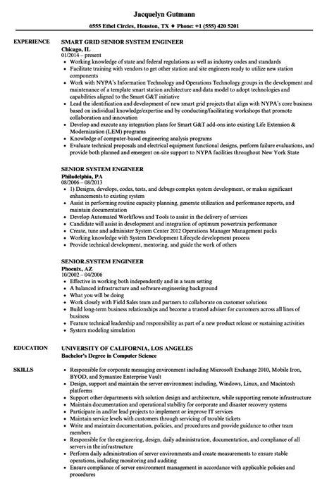 senior system engineer sle resume order administrator