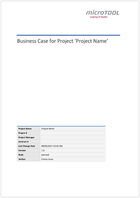 business caes template for your project microtool