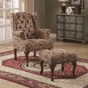 Coaster, Accent, Seating, 3932b, Traditional, Tufted, Wing, Back, Chair, And, Ottoman