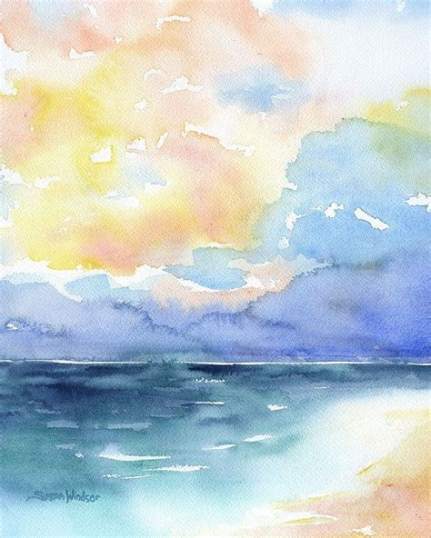 abstract watercolor painting colorful sea landscape 8 x 10 8 5 x 11