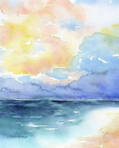 Abstract Watercolor Painting - Colorful Sea - Ocean ...