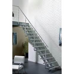 Escalier Avec Palier Leroy Merlin by Escalier Droit Escatwin Structure Aluminium Marche Verre