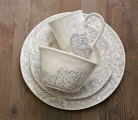 dinnerware wedding registry scarlett plate dinner paisley pottery barn sets piece potterybarn gifts clearance salad scroll gift