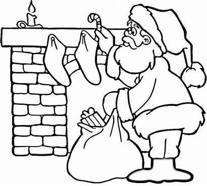 Santa Coloring Pages Printable Christmas Fireplace Workshop
