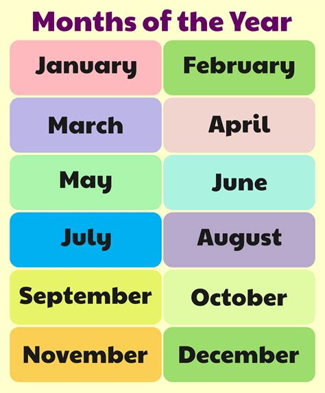 10 Best Free Printable Months Of The Year Chart ...