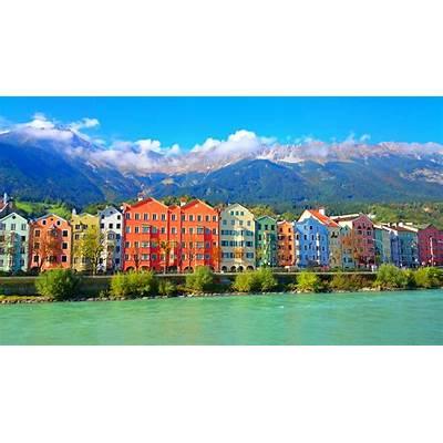 #Innsbruck old town with Inn river and Nordkette mountain