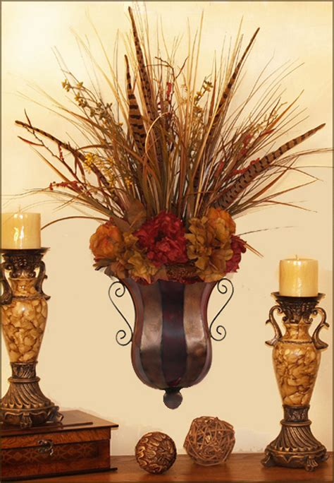pheasant feathers hydrangea floral design ar  silk