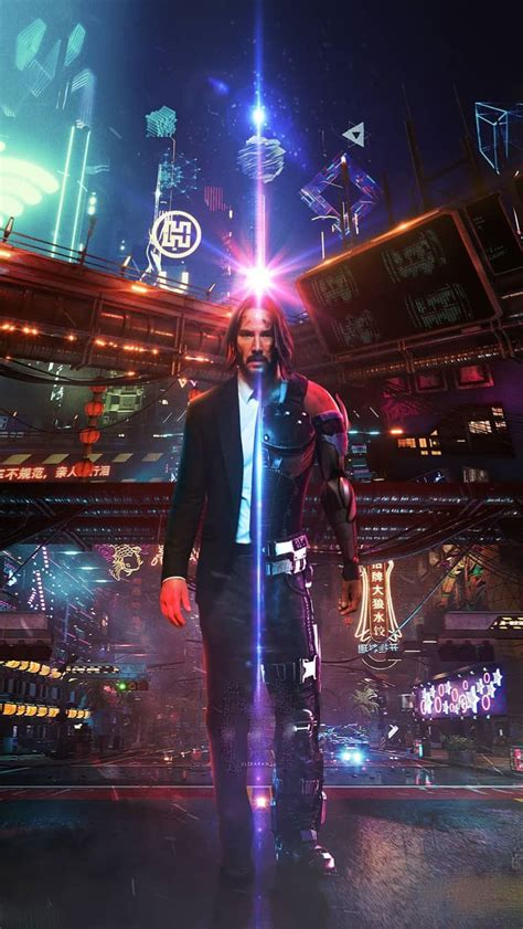 Download the perfect cyberpunk pictures. Cyberpunk-2077-Keanu-Reeves-John-Wick-iPhone-Wallpaper - iPhone Wallpapers : iPhone Wallpapers