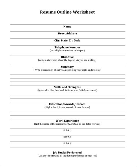 Resume Outline by Sle Resume Outline 8 Exles In Pdf
