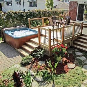 Amenagement avec piscine hors terre et spa contemporain for Decoration pour jardin exterieur 7 dressing design