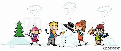 Kinder Schneemann Bauen Bild Cartoon Fotolia Herunterladen