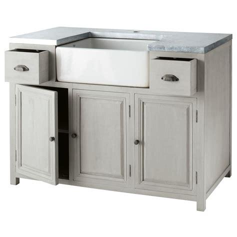 meuble cuisine avec evier integre meuble bas de cuisine avec 233 vier en bois d acacia gris l 120 cm zinc maisons du monde
