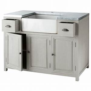 meuble bas de cuisine avec evier en bois d39acacia gris l With meuble cuisine 120 cm