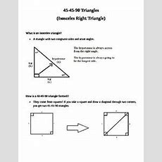 Right Triangles  Special Right Tris Notes, Practice, Task Cards, Riddle Bundle  Resources For