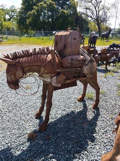 sheet metal pack mule head  garden statue yard