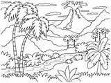 Island Tropical Drawing Coloring Getdrawings sketch template