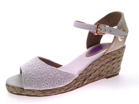 Wedge Shoes : Womens Strappy Peeptoe Hessian Wedge Sandals Ladies Summer
