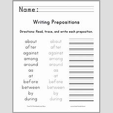 Writing The Top 25 Prepositions  Free Printable Worksheet For First Graders  Primary Grades