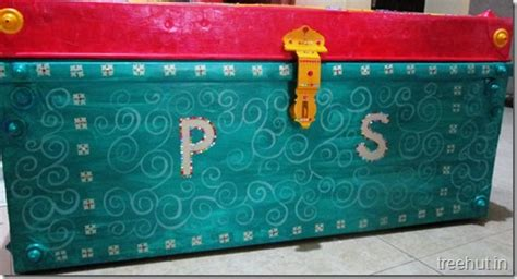 hand painted indian wedding trousseau chest