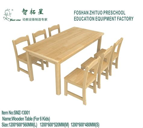 china wood preschool chairs and tables 6 seats wooden 512 | Wood Preschool Chairs and Tables 6 Seats Wooden Children Furniture Square Kids Study Table