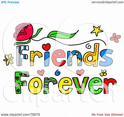 Friends Forever Clipart Words Royalty Illustration Colorful