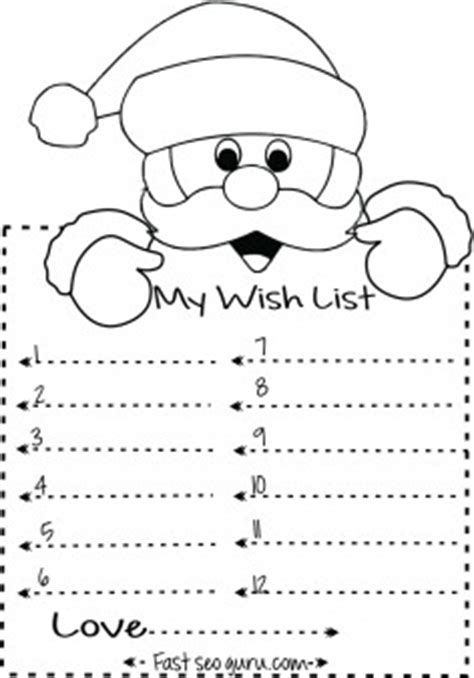 print  christmas  list  santa write template