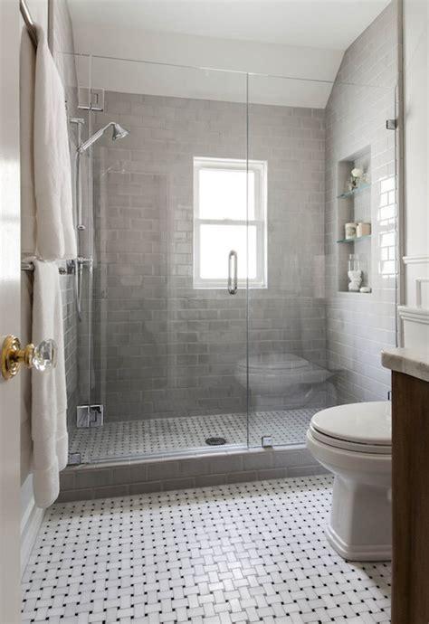 shower  gray subway tiles transitional bathroom