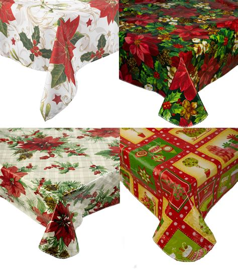 christmas tablecloth christmas pvc tablecloth flannel back festive xmas dining kitchen table linen ebay