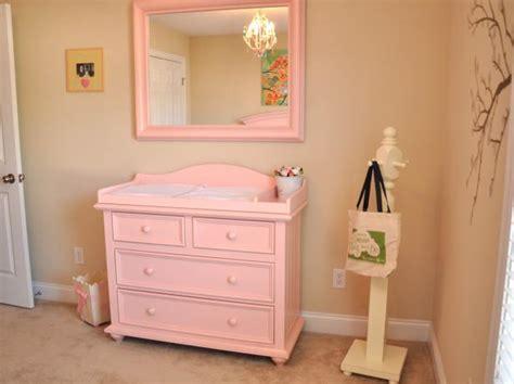 girls nursery  pink changing table  mirror hgtv