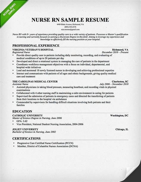 nurse rn resume sample   resume sample
