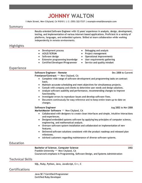 Software Engineering Resume by 13 Software Engineer Resume Template Format