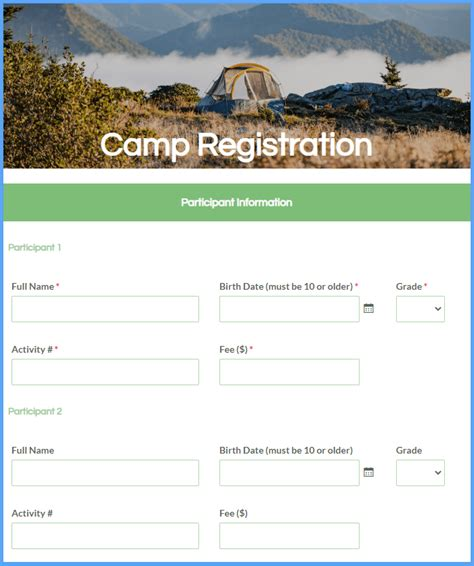 activity registration form template formsite