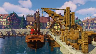 Minecraft Medieval Docks Crane Fantasy Vanilla Youtu