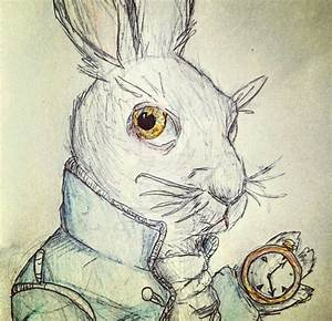 White rabbit Alice in wonderland by paintedangelwings on ...
