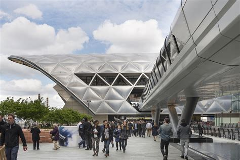 the lattice roof of crossrail place at canary wharf architect magazine